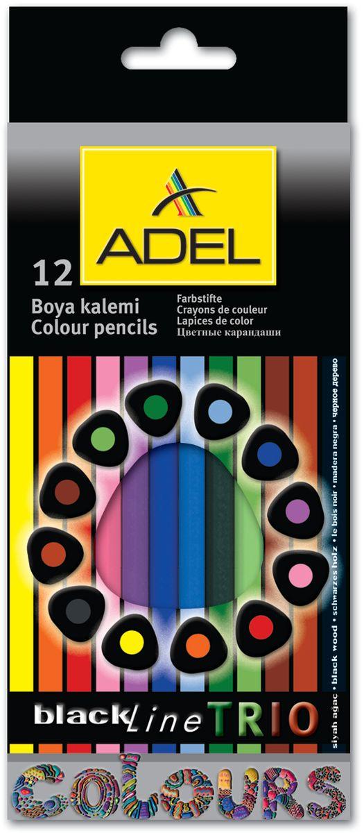 Adel Набор цветных карандашей Blackline PB Trio 12 цветов211-3312-000Набор цветных карандашей Adel Blackline PB Trio - великолепный инструмент для творческой самореализации ребенка. Широкая цветовая палитра создает наилучшие условия для воплощения фантазии и вдохновения вашего маленького художника.Особая треугольная форма со скругленными гранями обеспечивает комфортное и уверенное использование и снижает усталость пальцев во время длительного занятия рисованием.Оправа из специального черного дерева облегчает затачивание карандаша, а качественный грифель диаметром 3 мм позволяет выбирать оптимальный уровень заточки в соответствии со своими потребностями и художественным стилем.