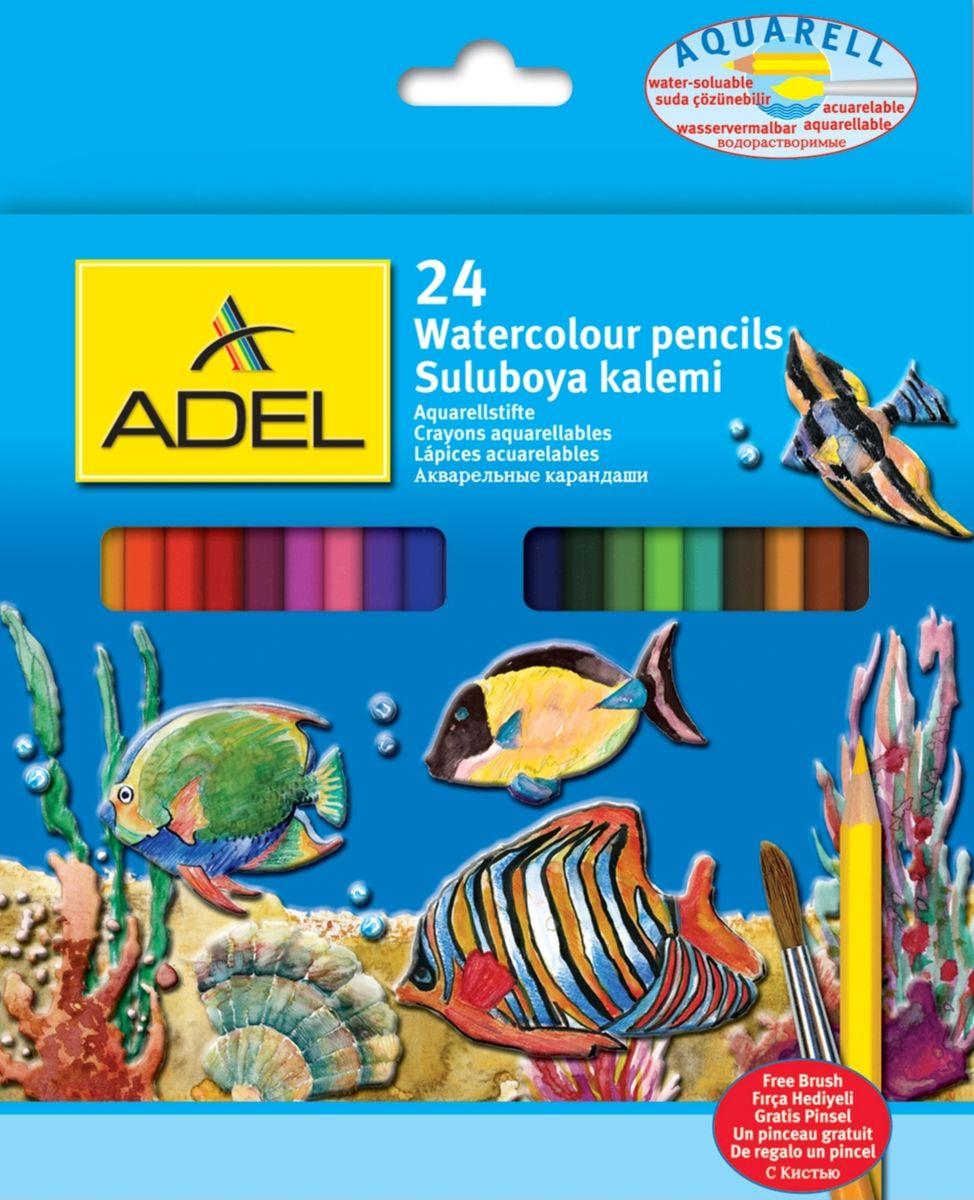 Adel Набор цветных карандашей Aquacolor с кистью 24 шт216-2660-000Цветные карандаши - лучшее для развития навыков творчества у детей.Рисунок, выполненный этими карандашами, растворяется водой, создавая впечатление сложной акварельной техники. Карандаши снабжены защитой от поломки.В комплект входит кисть.