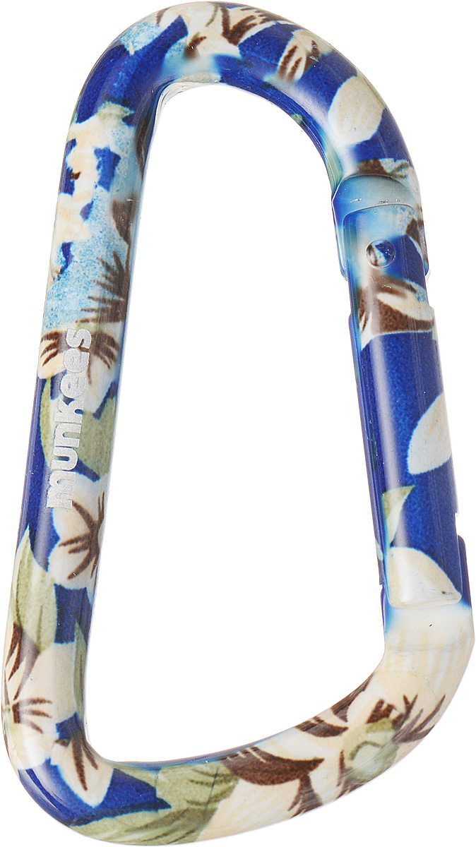 Карабин Munkees Голубой цветок, толщина 8 мм, длина 80 мм карабин munkees пестрый цветок толщина 8 мм длина 80 мм