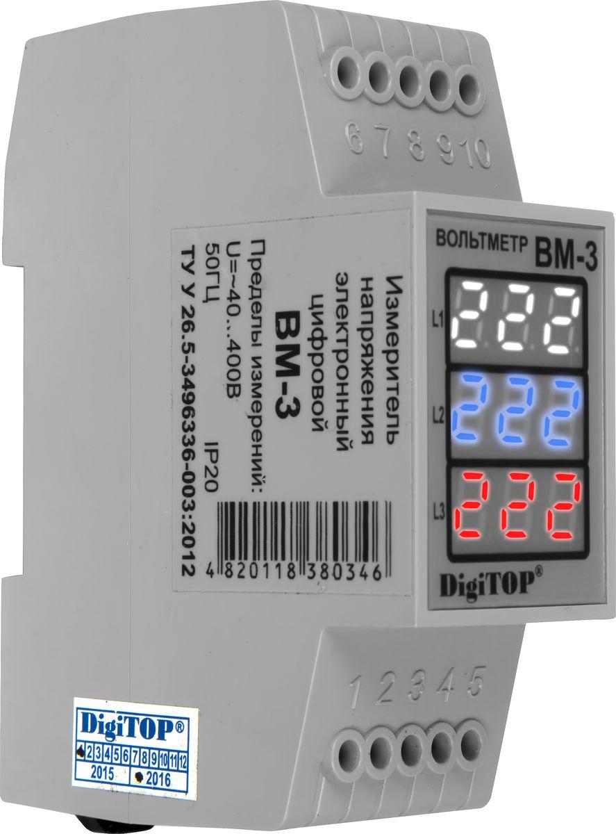 Вольтметр DigiTOP Вм-3 Color00000000309Предназначен для измерения действующего значения напряжения переменного тока частотой 50(±1)Гц в трехфазной сети.