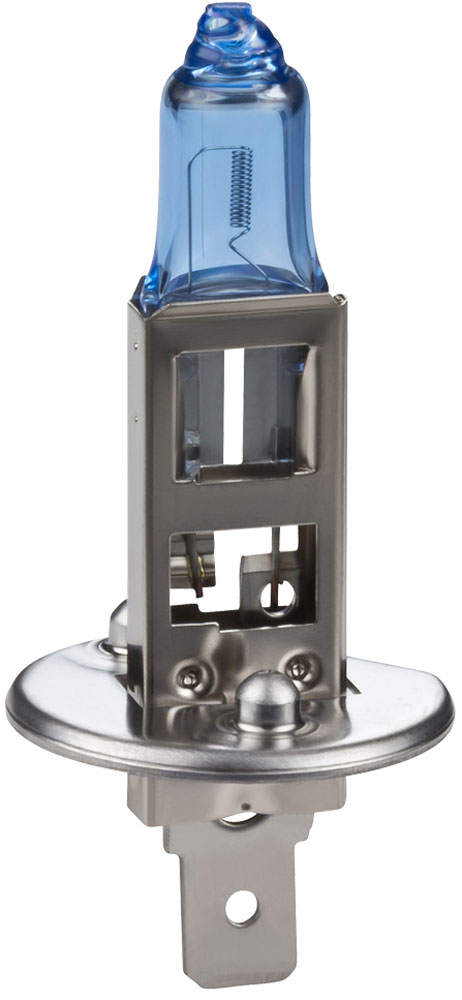 Лампа автомобильная галогенная Philips WhiteVision, для фар, цоколь H1 (P14,5s), 12V, 55W12258WHVB1 (бл.)Галогенная лампа для автомобильных фар Philips WhiteVision произведена из запатентованного кварцевого стекла с УФ фильтром Philips Quartz Glass. Кварцевое стекло Philips в отличие от обычного твердого стекла выдерживает гораздо большее давление смеси газов внутри колбы, что препятствует быстрому испарению вольфрама с нити накаливания. Кварцевое стекло выдерживает большой перепад температур, при попадании влаги на работающую лампу изделие не взрывается и продолжает работать. Лампы Philips WhiteVision излучают интенсивный белый свет с ксеноновым эффектом, что создает идеальные условия для вождения в ночное время. Благодаря повышенной яркости и цветовой температуре до 4300К лампы мгновенно рассеивают темноту: яркость чистого белого света увеличена на 40%. Повышенный уровень безопасности: более длинный световой пучок и на 60% больше света. Это обеспечивает лучшую видимость на дороге и позволяет предотвращать потенциально аварийные ситуации. Обладая цветовой температурой ксеноновых ламп и стильным белым цоколем, лампы WhiteVision идеально подходят для головного освещения.Автомобильные галогенные лампы Philips удовлетворят все нужды автомобилистов: дальний свет, ближний свет, передние противотуманные фары, передние и боковые указатели поворота, задние указатели поворота, стоп-сигналы, фонари заднего хода, задние противотуманные фонари, освещение номерного знака, задние габаритные/стояночные фонари, освещение салона