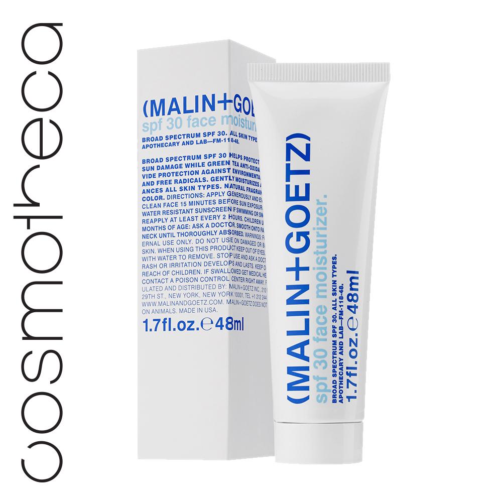 Malin+Goetz Крем для лица увлажняющий SPF 30 48 млMG146Крем помогает защитить кожу от повреждения ультрафиолетом (ожоги, старение) и обеспечить защиту от вредных факторов среды и свободных радикалов. Увлажняет и балансирует.Нанести щедро и равномерно на очищенную кожу лица и шеи за 15-20 минут до выхода на солнце. Обновлять по крайней мере, каждые 2 часа (под открытым небом). Не стоит использовать на пляже (как любой продукт с синт. фильтрами).Комплекс синтетических солнце-защитных фильтров (авобензон, гомосалат, октиноксат, октисалат, оксибензон).Экстракт зеленого чая – мощный антиоксидант, оказывает противо-воспалительное и балансирующее действие. Снижает вред от УФ излучения и загрязнения среды.Пантенол и аллантоин устраняют раздражение и успокаивают.Диметикон защищает.Экстракт алоэ вера – антиоксидант,увлажняет, успокаивает.Экстракт кипрея (Иван-чая) – антиоксидант, восстановливает поврежденную кожу.