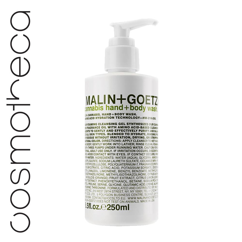 Malin+Goetz Гель-мыло для душа и рук Каннабис 250 млMG151Увлажняющая формула на основе аминокислот.Мягкий гель для мытья рук и тела бережно очищает кожу, оставляя тонкий аромат. Глицерин и комплекс аминокислот увлажняют и питают кожу.