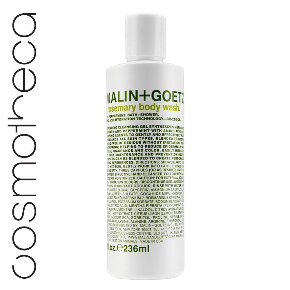 Malin+Goetz Гель для душа Розмарин 236 млMG220Увлажняющая формула на основе аминокислот.Мягкие гели бережно очищают кожу, оставляя тонкий аромат. Моющая основа – аммониум лаурил сульфат и содиум лаурет сульфат.Эфирные масла лимона и сладкого апельсинаосвежают, восстанавливают, повышают эластичность кожи, поднимают настроение. Эфирные масла розмарина и мяты улучшают состояние любой кожи, освежают, устраняют усталость и неуверенность.