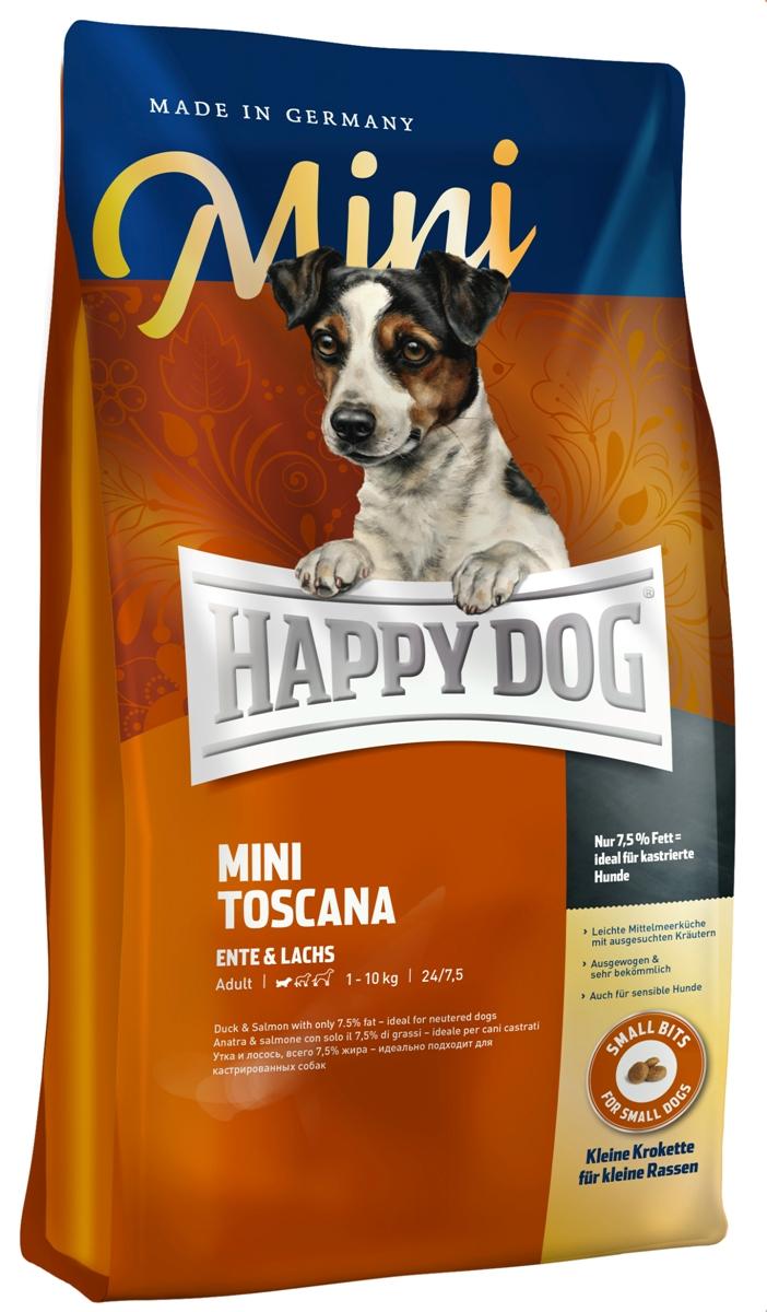 Корм сухой Happy Dog Тоскана для собак малых пород, с уткой и лососем, 4 кг60326Happy Dog Тоскана - полнорационный корм для собак мелких пород. С давних пор классические ингредиенты легкой средиземноморской кухни обеспечивают природную защиту от болезней, обусловленных современной цивилизацией. При этом следует особо упомянуть ароматные средиземноморские травы, мясо утки, лосося и полифенолы красного винограда. Только Happy Dog Тоскана гарантирует такое уникальное многообразие ценных компонентов. Благодаря специальным ингредиентам и особому способу приготовления корм очень хорошо подходит для целенаправленного кормления чувствительных собак мелких пород с их особыми потребностями. Корм содержит умеренное количество жира (7,5%) и 24% белка – источника жизненной энергии. Прекрасно подходит для кастрированных и стерилизованных собак, пожилых собак и собак привередливых к корму.Состав: утка (21%), кукурузная мука, кукуруза, рисовая мука, лосось (5%), гидролизат печени, свекольная пульпа (обессахаренная), птичий жир, масло из семян подсолнечника, яблочная пульпа (0,5%), рапсовое масло, сухое цельное яйцо, хлорид натрия, дрожжи, хлорид калия, морские водоросли (0,15%), семя льна (0,15%), мясо моллюска (0,05%), экстракт красного винограда (0,02%), ягоды бузины, расторопша, артишок, одуванчик, чабер садовый, майоран, имбирь, розмарин, шалфей, тимьян, березовый лист, крапива, плоды аниса, базилик, фенхель, цветки бузины, цветки лаванды, кориандр, ромашка, таволга, корень солодки, дрожжи (экстрагированные), (общий объем сухих трав: 0,28%).Аналитический состав: сырой протеин 24%, сырой жир 7,5%, сырая клетчатка 3,0%, сырая зола 6,5%, кальций 1,45%, фосфор 0,95%, натрий 0,4%, Омега - 6 жирные кислоты 2,2%, Омега - 3 жирные кислоты 0,3%.Витамины/кг: витамин A 12000 М.E., витамин D3 1200 М.E., витамин E (альфа-токоферол 3a700) 75 мг, витамин B1 (тиаминмононитрат) 4 мг, витамин B2 (рибофлавин) 6 мг, витамин B6 (пиридоксингидрохлорид) 4 мг, биотин 575 мкг, кальция-D-пантотенат 12 м