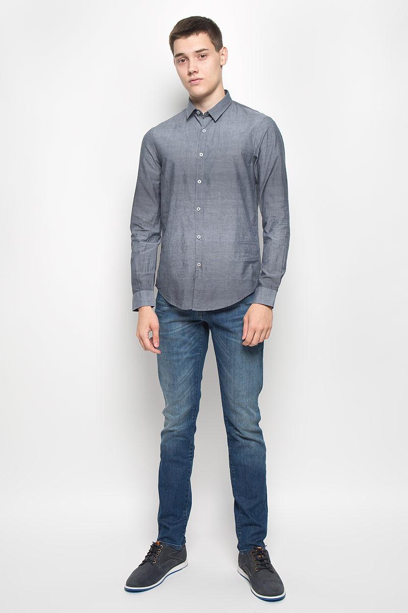Рубашка мужская Mexx, цвет: сине-серый. MX3000743_MN_SHG_006. Размер M (50)MX3000743_MN_SHG_006Мужская рубашка Mexx, выполненная из натурального хлопка, идеально дополнит ваш образ. Материал мягкий и приятный на ощупь, не сковывает движения и позволяет коже дышать.Рубашка с длинными рукавами и отложным воротником застегивается на пуговицы по всей длине. На манжетах предусмотрены застежки-пуговицы.Такая модель будет дарить вам комфорт в течение всего дня и станет стильным дополнением к вашему гардеробу.