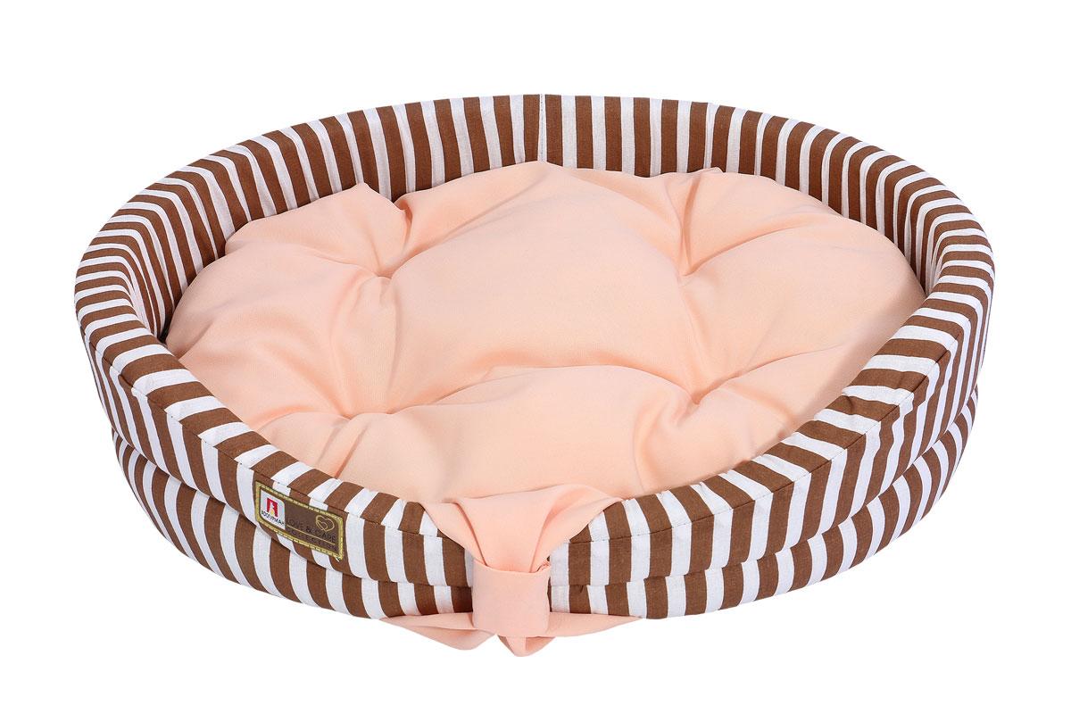 Лежак для животных Зоогурман  Монти , цвет: персиковый, коричневый, 40 х 50 х 14 см - Лежаки, домики, спальные места