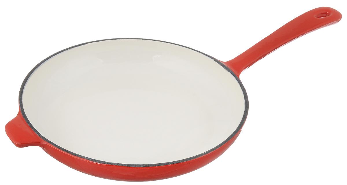 Сковорода чугунная Mayer & Boch, цвет: красный. Диаметр 28 см. 2050920509Сковорода Mayer & Boch выполнена из высококачественного эмалированного чугуна. Чугун - один из лучших материалов, который равномерно распределяет тепло и удерживает его. Он устойчив к механическим повреждениям и невероятно прочен. Эмаль защищает чугун от коррозии и появления ржавчины, не впитывает запахи, облегчает уход за посудой. Посуда из эмалированного чугуна идеальна для запекания, жарки, тушения, варки, томления, также может использоваться для маринования. Сковорода имеет и внутреннее, и внешнее эмалированное покрытие. Внешнее покрытие цветное, что придает посуде эстетичный внешний вид. Длинная ручка обеспечивает безопасное использование. Сковорода подходит для использования на всех типах плит, кроме индукционных. Можно использовать в духовке, а также мыть в посудомоечной машине. Высота стенки: 4 см.Толщина стенки: 4 мм.Толщина дна: 4 мм.Диаметр дна: 22 см.Длина ручки: 19 см.