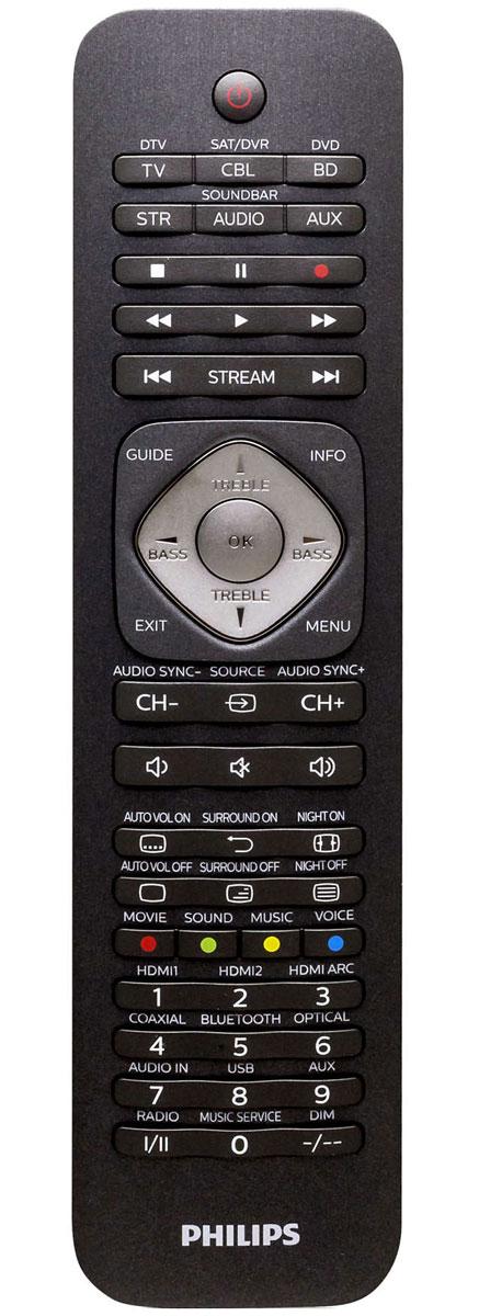 Philips SRP5016/53 универсальный пульт ДУSRP5016/10Универсальный пульт ДУ Philips SRP5016/10 подходит для управления самыми разными устройствами - в том числе телевизорами, тюнерами, приставками, акустическими системами, медиаплеерами и саундбарами (до 6 устройств).Максимальное удобствоИнтеллектуальные обучающиеся клавиши могут отвечать за любые функции, присвоенные им пользователем.Онлайн-сервисыНа пульте расположены специальные кнопки для мгновенного доступа к Netflix, Vudu и Amazon при использовании телевизоров со Smart TV или многофункциональных приставок. Кроме того, он поддерживает управление трансляциями через Apple TV и Roku.Быстрая настройкаНа официальном сайте Philips можно загрузить предустановленные коды для управления устройствами различных брендов.Автономная работыУстройство использует две стандартные батарейки ААА - их ёмкости хватает на год.
