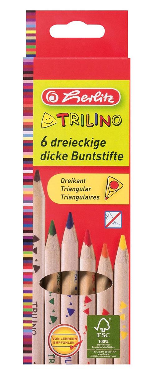 Herlitz Набор цветных карандашей Trilino 6 шт набор цветных карандашей maped color peps 12 шт 683212 в тубусе подставке