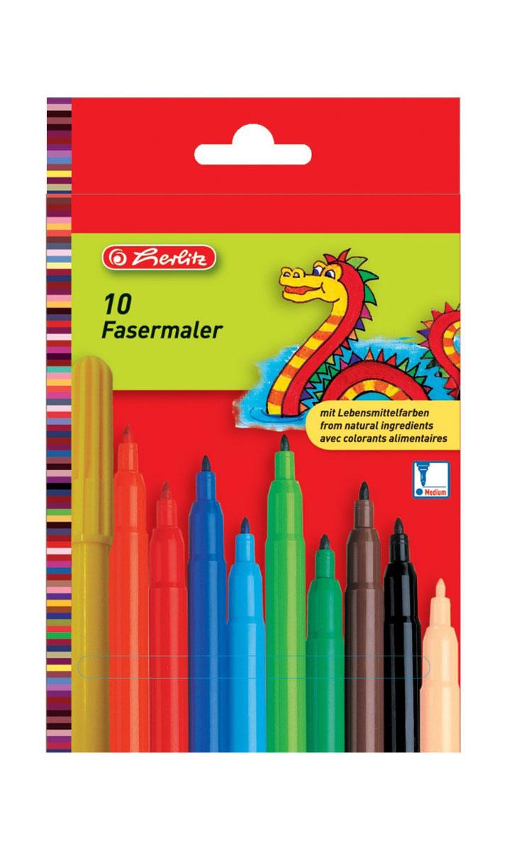 Herlitz Набор фломастеров Fasermaler 10 цветов8649139Набор фломастеров Herlitz Fasermaler - это 10 цветных фломастеров, которые оснащены вентилируемым колпачком, а корпус изготовлен из прочного пластика.Фломастеры устойчивы к вдавливанию и имеют цилиндрический пишущий узел.Когда ваш юный художник будет рисовать, то можете не беспокоиться, чернила этих фломастеров совершенно безопасны для здоровья вашего малыша. Набор фломастеров от Herlitz обязательно порадует не только вашего малыша, но и вас.Рекомендуемый возраст от трех лет.