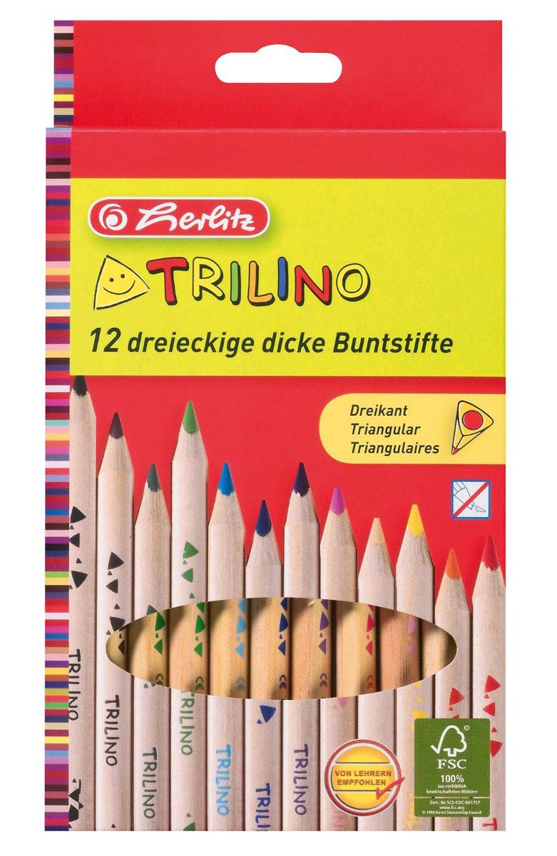 Herlitz Набор цветных карандашей Trilino 12 шт10412062Набор цветных карандашей Herlitz Trilino поможет создать чудные картины вашему юному художнику.Мягкий грифель легко рисует на бумаге и не царапает ее, устойчив к механическим деформациям и легко затачивается. Нежный неокрашенный трехгранный корпус изготовлен из натуральной древесины и обеспечивает максимальный уровень комфорта. В набор входят 12 карандашей ярких и насыщенных цветов. С таким набором карандашей от Herlitz будет интересно рисовать не только вашему малышу, но и вам.