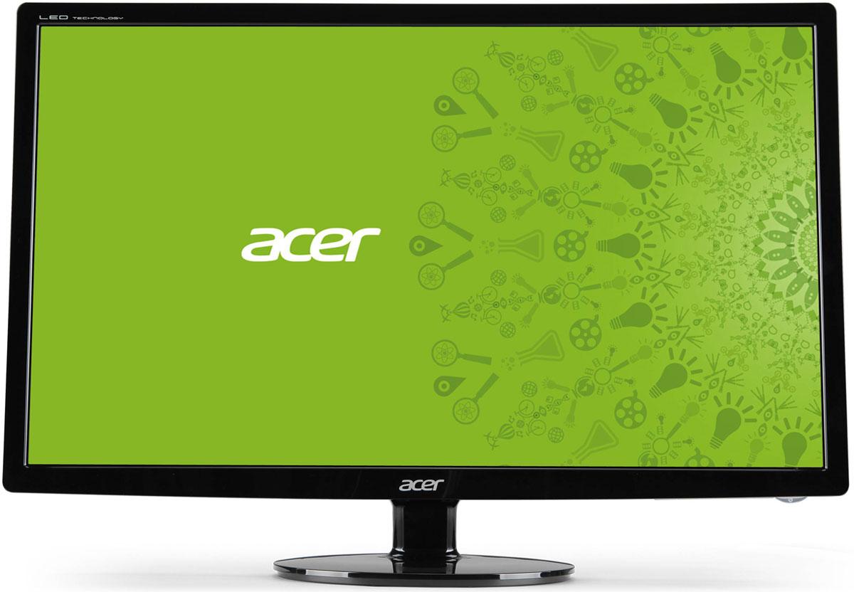 Acer S271HLbid, Black монитор (ET.HS1HE.002)S271HLbidМонитор Acer S271HLbid имеет элегантный дизайн, что позволяет ему вписаться в любой интерьер. А привлекательные продуманные до мелочей детали сделают ваш рабочий стол более стильным.Наслаждайтесь работая и и просматривая мультимедиа с высокой детализацией и плавными переходами благодаря поддержке высокого разрешения, малому времени отклика и потрясающему коэффициенту контрастности. Acer eColor Management позволяет настроить дисплей в соответствии с вашими предпочтениями. Игры становятся более захватывающими, а фильмы воспроизводятся в кинематографическом качестве благодаря высокой яркости красок.Мониторы данной серии безопасны как для пользователей, так и для окружающей среды благодаря соответствию стандарту RoHS, использованию без ртутной белой светодиодной подсветки и наличию маркировки ENERGY STAR. Технологии Acer EcoDisplay позволяют сократить энергопотребление на 68%, что дает возможность еще больше снизить расходы на энергоснабжение.