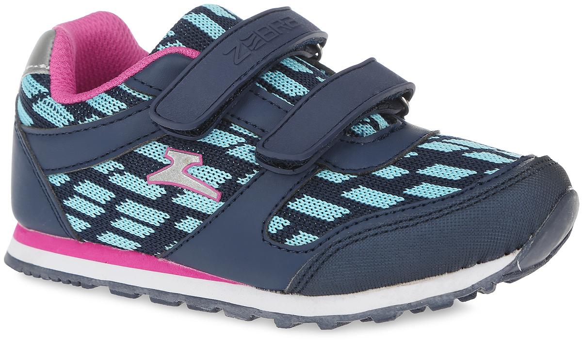 Кроссовки для девочки Зебра, цвет: голубой, синий. 10887-6. Размер 2710887-6Кроссовки от фирмы Зебра выполнены из дышащего текстиля и искусственной кожи. Застежки-липучки обеспечивают надежную фиксацию обуви на ноге ребенка. Подкладка выполнена из текстиля, что предотвращает натирание и гарантирует уют. Стелька с поверхностью из натуральной кожи оснащена небольшим супинатором с перфорацией, который обеспечивает правильное положение ноги ребенка при ходьбе и предотвращает плоскостопие. Подошва с рифлением обеспечивает идеальное сцепление с любыми поверхностями.