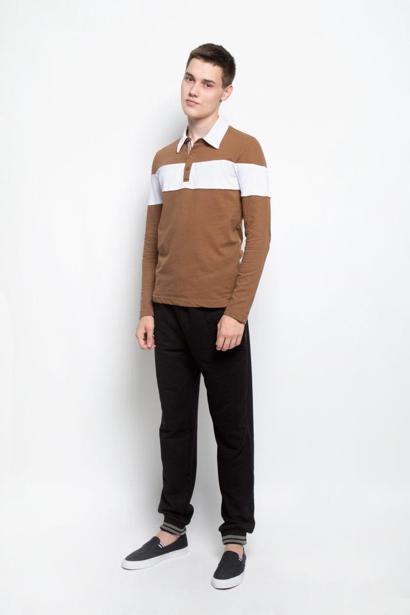 Поло мужское RAV, цвет: коричневый, белый. RAV01-021. Размер M (48)