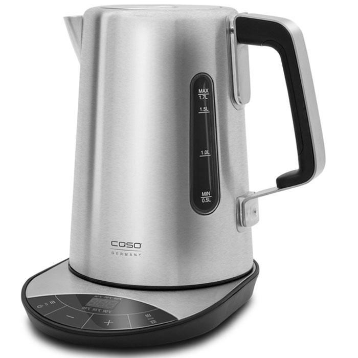 CASO WK 2500, Black Silver электрический чайникWK 2500Дизайнерский электрический чайник CASO WK 2500 изготовлен из нержавеющей стали, что дает гарантию вдолгом сроке службы, а также он менее подвержен механическим повреждениям. Данная модель имеет объем 1,7литра, а также снабжена функцией контроля температуры с 6 степенями: от 40 до 100 °C. Управление чайникасенсорное, имеется место для намотки кабеля, звуковой сигнал о закипании воды, а также индикация отемпературе нагрева. Все это дает потребителю удобство и комфорт в использовании.