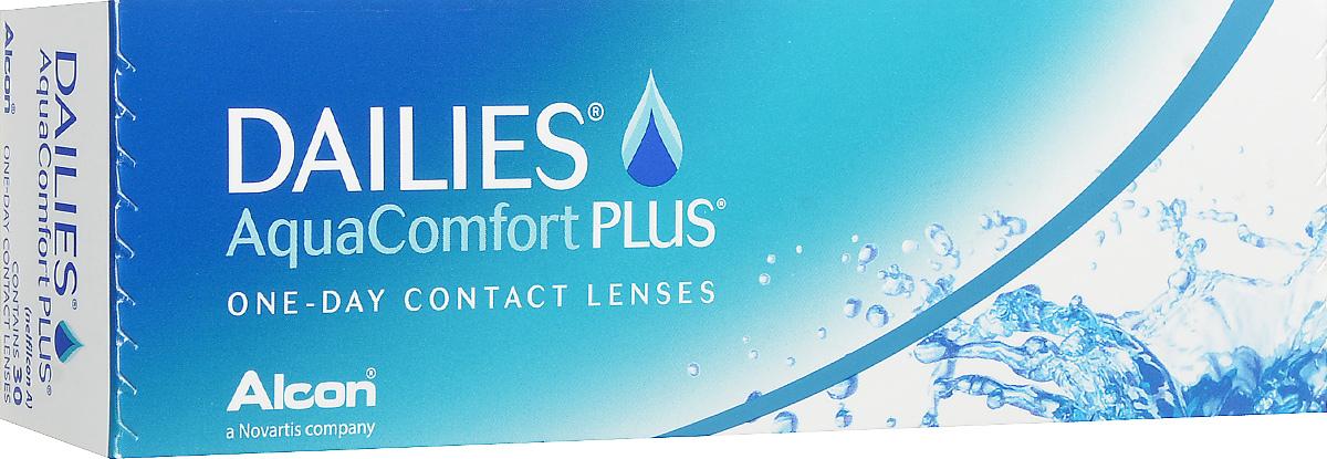 Alcon-CIBA Vision контактные линзы Dailies AquaComfort Plus (30шт / 8.7 / 14.0 / -5.50)31050Dailies AquaComfort Plus - это одни из самых популярных однодневных линз производства компании Ciba Vision. Эти линзы пользуются огромной популярностью во всем мире и являются на сегодняшний день самыми безопасными контактными линзами. Изготавливаются линзы из современного, 100% безопасного материала нелфилкон А. Особенность этого материала в том, что он легко пропускает воздух и хорошо сохраняет влагу. Однодневные контактные линзы Dailies AquaComfort Plus не нуждаются в дополнительном уходе и затратах, каждый день вы надеваете свежую пару линз. Дизайн линзы биосовместимый, что гарантирует безупречный комфорт. Самое главное достоинство Dailies AquaComfort Plus - это их уникальная система увлажнения. Благодаря этой разработке линзы увлажняются тремя различными агентами. Первый компонент, ухаживающий за линзами, находится в растворе, он как бы обволакивает линзу, обеспечивая чрезвычайно комфортное надевание. Второй агент выделяется на протяжении всего дня, он непрерывно смачивает линзы. Третий - увлажняющий агент, выделяется во время моргания, благодаря ему поддерживается постоянный комфорт. Также линзы имеют УФ-фильтр, который будет заботиться о ваших глазах. Dailies AquaComfort Plus одни из лучших линз в своей категории. Всемирно известная компания Ciba Vision, создавая эти контактные линзы, попыталась учесть все потребности пациентов и ей это удалось! Характеристики:Материал: нелфилкон А. Кривизна: 8.7. Оптическая сила: - 5.50. Содержание воды: 69%. Диаметр: 14 мм. Количество линз: 30 шт. Размер упаковки: 15,5 см х 5 см х 3 см. Производитель: США. Товар сертифицирован.Контактные линзы или очки: советы офтальмологов. Статья OZON Гид