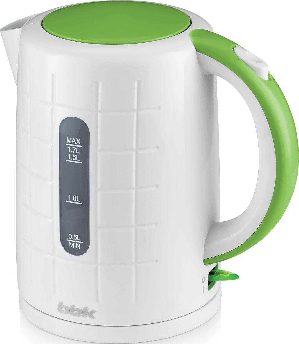 BBK EK1703P, White Green электрический чайникEK1703P бел/зелЭлектрический чайник BBK EK1703P из термостойкого экологически чистого пластика, мощностью 2200 Bт и емкостью 1,7 литра, - это не просто стильный, но и многофункциональный прибор для вашей кухни. Благодаря английскому контроллеру, установленному в приборе, чайник прослужит в 5 раз дольше обычного, обеспечивая до 15000 закипаний. Модель оснащена многоуровневой защитой: автоматическое отключение при закипании, отключение при недостаточном количестве водыи отключение при снятии чайника с базы. Прибор установлен на удобную подставку с возможностью поворота на 360 градусов и с отделением для хранения шнура. Помимо этого отличительной особенностью является удобный носик для наливания и шкала уровня воды. Съемный фильтр от накипи и скрытый нагревательный элемент гарантированно обеспечат надежность, долговечность и максимально комфортное ежедневное использование.