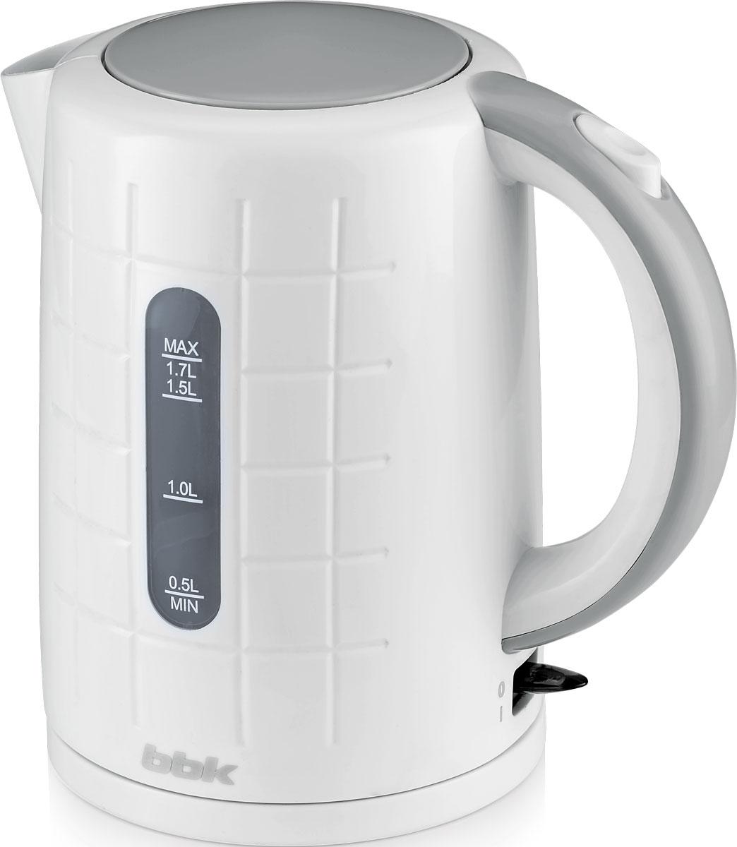 BBK EK1703P, White Metallic электрический чайникEK1703P бел/метЭлектрический чайник BBK EK1703P из термостойкого экологически чистого пластика, мощностью 2200 Bт и емкостью 1,7 литра,- это не просто стильный, но и многофункциональный прибор для вашей кухни. Благодаря английскомуконтроллеру, установленному в приборе, чайник прослужит в 5 раз дольше обычного, обеспечивая до 15000закипаний. Модель оснащена многоуровневой защитой: автоматическое отключение при закипании, отключение принедостаточном количестве водыи отключение при снятии чайника с базы. Прибор установлен на удобную подставку с возможностью поворота на 360 градусов и с отделением для храненияшнура. Помимо этого отличительной особенностью является удобный носик для наливания и шкала уровня воды.Съемный фильтр от накипи и скрытый нагревательный элемент гарантированно обеспечат надежность,долговечность и максимально комфортное ежедневное использование.