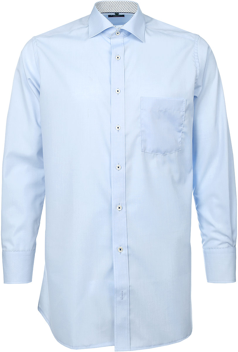 Рубашка мужская Eterna, цвет: голубой. 8500_10_X37R_38-46_59. Размер 408500_10_X37R_38-46_59Стильная мужская рубашка Eterna, выполненная из натурального хлопка, подчеркнет ваш уникальный стиль и поможет создать оригинальный образ. Такой материал великолепно пропускает воздух, обеспечивая необходимую вентиляцию, а также обладает высокой гигроскопичностью. Рубашка с длинными рукавами и отложным воротником застегивается на пуговицы спереди. Манжеты рукавов также застегиваются на пуговицы. Изделие дополнено накладным нагрудным карманом. Классическая рубашка - превосходный вариант для базового мужского гардероба и отличное решение на каждый день.Такая рубашка будет дарить вам комфорт в течение всего дня и послужит замечательным дополнением к вашему гардеробу.