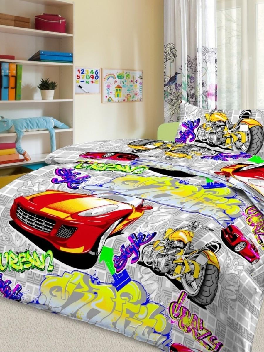 Letto Комплект детского постельного белья Граффити цвет серый, Letto Home Textile