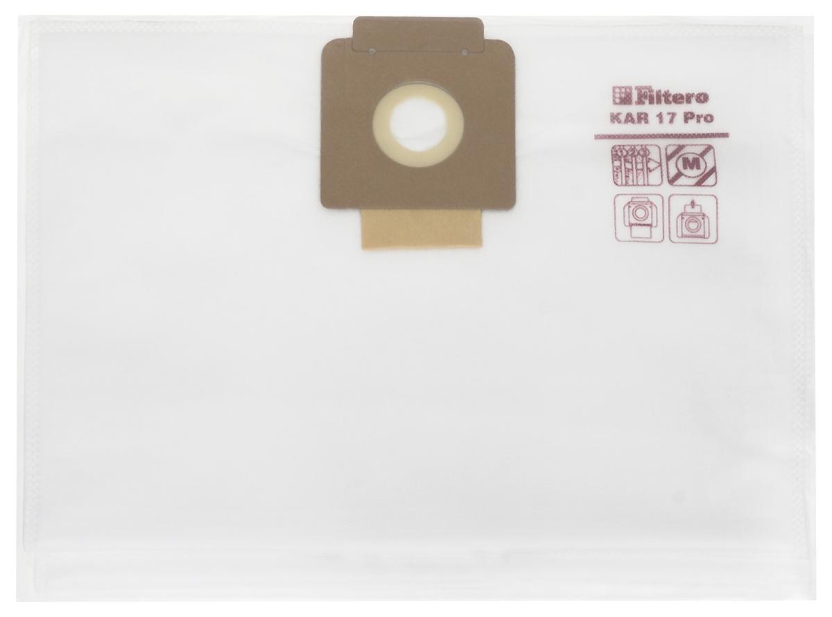 Filtero KAR 17 Pro комплект пылесборников для промышленных пылесосов, 5 штKAR 17 (5) ProМешки для промышленных пылесосов Filtero KAR 17 Pro, трехслойные, произведены из синтетического микроволокна MicroFib. Прочность синтетических мешков Filtero KAR 17 Pro превосходит любые бумажные мешки-аналоги, даже если это оригинальные бумажные мешки всемирно известных марок. Вы можете быть уверены: заклепки, гвозди, шурупы, битое стекло, острые камни и прочее не смогут прорвать мешки Filtero Pro. Мешки Filtero Pro не боятся влаги, и даже вода, попавшая в мешок, не помешает вам произвести качественную уборку! Мешки Filtero Pro предназначены для уборки пыли класса М.Подходят для следующих моделей пылесосов:CLEANFIX:S 20S 25SW 20SW 21SW 25COLUMBUS:ST 12ST 2000KARCHER:T 12/1T 15/1T 17/1TASKI:Vacumat 12Vacumat 22Vento 15