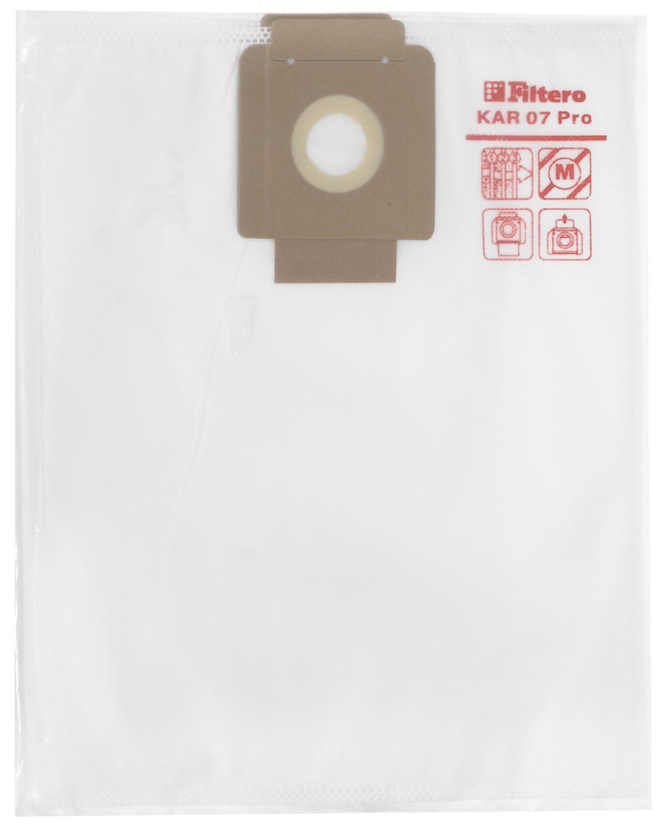 Filtero KAR 07 Pro комплект пылесборников для промышленных пылесосов, 5 штKAR 07 (5) ProМешки для промышленных пылесосов Filtero KAR 07 Pro, трехслойные, произведены из синтетического микроволокна MicroFib. Прочность синтетических мешков Filtero KAR 07 Pro превосходит любые бумажные мешки-аналоги, даже если это оригинальные бумажные мешки всемирно известных марок. Вы можете быть уверены: заклепки, гвозди, шурупы, битое стекло, острые камни и прочее не смогут прорвать мешки Filtero Pro. Мешки Filtero Pro не боятся влаги, и даже вода, попавшая в мешок, не помешает вам произвести качественную уборку! Мешки Filtero Pro предназначены для уборки пыли класса М.Подходят для следующих моделей пылесосов:COLUMBUS:RS 27ST 1000COMAC:CA 15 EcoFIORENTINI:BABYKARCHER:BV 5/1T 7/1T 9/1T 10/1NILFISK-Alto:Saltix 10SPRINTUS:T 11VIPER:DV 10