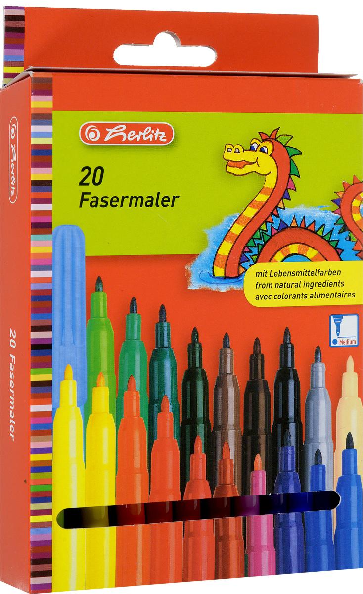 Herlitz Набор фломастеров Fasermaler 20 цветов8649238Набор фломастеров Herlitz Fasermaler - это 20 цветных фломастеров, которые оснащены вентилируемым колпачком, а корпус изготовлен из прочного пластика.Фломастеры устойчивы к вдавливанию и имеют цилиндрический пишущий узел.Когда ваш юный художник будет рисовать, то можете не беспокоиться, чернила этих фломастеров совершенно безопасны для здоровья вашего малыша. Набор фломастеров от Herlitz обязательно порадует не только вашего малыша, но и вас.Рекомендуемый возраст от трех лет.
