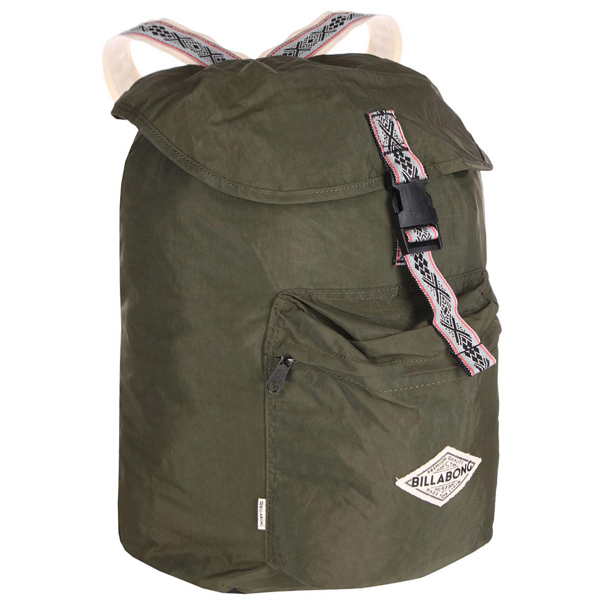 Рюкзак городской Billabong Sister Solstice, цвет: зеленый, 30 лU9BP02Вместительный рюкзак-мешок, декорированный узорными лямками. Основное отделение рюкзака затягивается на шнурок и дополнительно защищено клапаном на пряжке, благодаря чему ваше имущество будет надежно защищено от посторонних посягательств. Так как рюкзак не имеет жесткого каркаса, в него можно уложить множество различных вещей, разместив их в удобном для вас порядке. Передний карман на молнии.