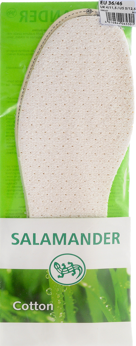 SALAMANDER Cotton Стелька хлопок латекс универсальная665703Мягкая амортизирующая стелька. Пригодна для носки на босу ногу. Хлопок на основе вспененного латекса с чистым активированным углем поглощает влагу и неприятные запахи.