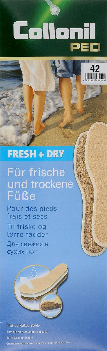 Стельки для обуви Collonil Fresh & Dry, 2 шт. Размер 429033 420Стельки для обуви Collonil Fresh & Dry выполнены из высококачественной хлопчатобумажной махровой ткани и воздушных кокосовых волокон. Такие стельки сохраняют ноги свежими и сухими. Идеальны для ношения на босую ногу.Количество: 2 шт.
