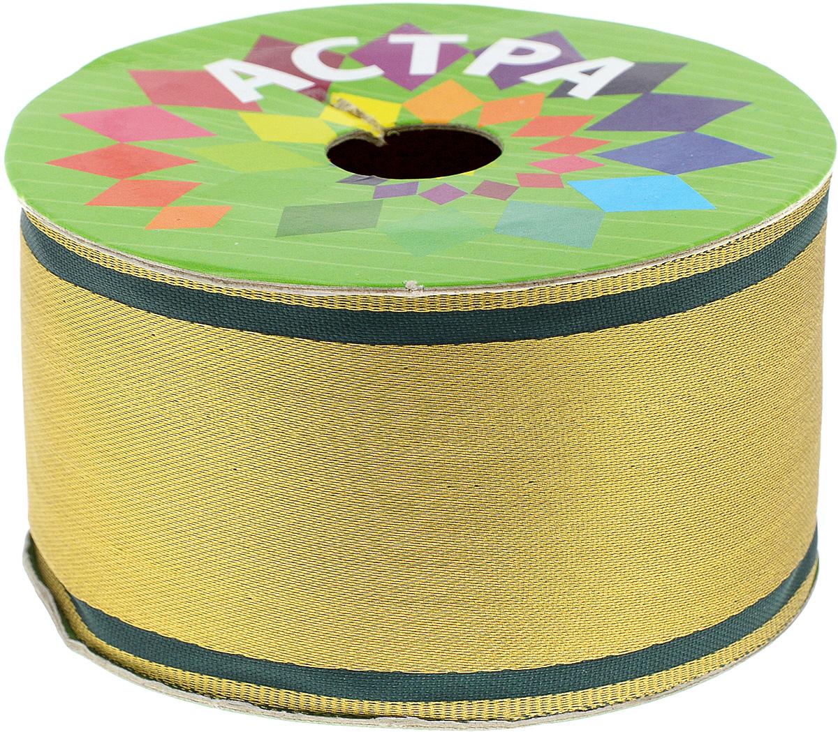 Тесьма декоративная Астра, цвет: золотистый, темно-зеленый, ширина 5 см, длина 8,2 мSCB240015Декоративная тесьма Астра выполнена из текстиля и оформлена оригинальным орнаментом. Такая тесьма идеально подойдет для оформления различных творческих работ таких, как скрапбукинг, аппликация, декор коробок и открыток и многое другое.Тесьма наивысшего качества и практична в использовании. Она станет незаменимом элементов в создании рукотворного шедевра.Ширина: 5 см. Длина: 8,2 м.