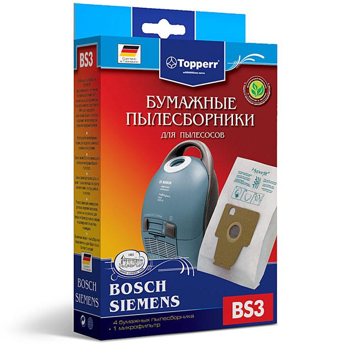 Topperr BS 3 фильтр для пылесосов Bosch, Siemens, 4 шт1002Бумажные пылесборники Topperr BS 3 для пылесосов Bosch и Siemens изготовлены из экологически чистой трехслойной бумаги, соответствующей европейскому стандарту качества, задерживают 99% пыли, продлевая срок службы пылесоса, сохраняют чистоту воздуха и устраняют вредные бактерии.Модели и серии пылесосов:Bosch: Ergomaxx professional BSG 8; HomeProfessional BSG8PROSiemens: Dynapower VS 08G, Compressor technology VS 08 GP