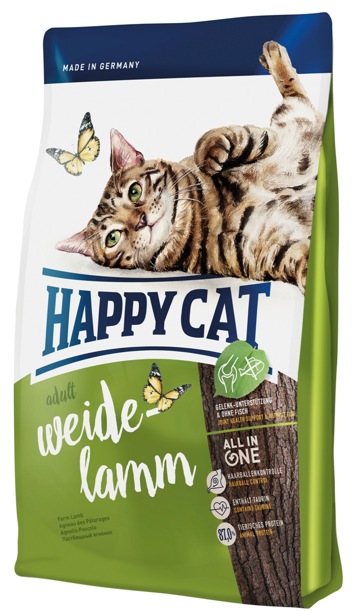 Корм сухой Happy Cat Adult для кошек с чувствительным пищеварением, пастбищный ягненок, 300 г70187Happy Cat Adult - специальный корм для кошек, имеющих доступ на улицу и тех которые активны дома. Он оптимально обеспечивает кошку всеми необходимыми питательными веществами, после обстоятельной ревизии своей территории. Корм предоставляет маленькому искателю приключений все ценные ингредиенты. Состав: птица (21,0%), рисовая мука, кукурузная мука, птичий жир, мясопродукты, кукуруза, ягненок (8%), картофельные хлопья, клетчатка, свекольная пульпа, сухое цельное яйцо, хлорид натрия, дрожжи, яблочная пульпа (0,4%), хлорид калия, морские водоросли (0,2%), семя льна (0,2%), новозеландский моллюск (0,04%), корень цикория (0,04%), дрожжи (экстрагированные), расторопша, артишок, одуванчик, имбирь, березовый лист, крапива, ромашка, кориандр, розмарин, шалфей, корень солодки, тимьян (общий объем сухих трав: 0,17%).Аналитический состав: сырой протеин 32,0%, сырой жир 18,0%, сырая клетчатка 3,0%, сырая зола 7,0%, кальций 1,4%, фосфор 0,9%, натрий 0,4%, калий 0,45%, магний 0,65%, омега - 6 жирные кислоты 0,08%, омега - 3 жирные кислоты 2,8%.Витамины/кг: витамин A (3а672а) 18000 МE, витамин D3 1800 МЕ, витамин E (альфа-токоферол 3a700) 100 мг, витамин B1 (тиаминмононитрат 3a821) 5 мг, витамин B2 (рибофлавин) 6 мг, витамин B6 (пиридоксин-гидрохлорид 3a831) 4 мг, D(+) биотин (3a880) 700 мкг, кальция-D-пантотенат 12 мг, ниацин 45 мг, витамин B12 75 мкг, холинхлорид 75 мг. Антиоксиданты: натуральные экстракты с высоким содержанием токоферола. Микроэлементы/кг: железо 120 мг (сульфат железа (II)), медь 12 мг (сульфат меди (II)), цинк 150 мг (оксид цинка), марганец 30 мг (оксид марганца (II)), йод 2,5 мг (йодат кальция 3b202), селен 0,2 мг (селенит натрия). Аминокислоты / кг: DL-метионин: 4400 мг. таурин (3a370) 1000 мг.Товар сертифицирован.