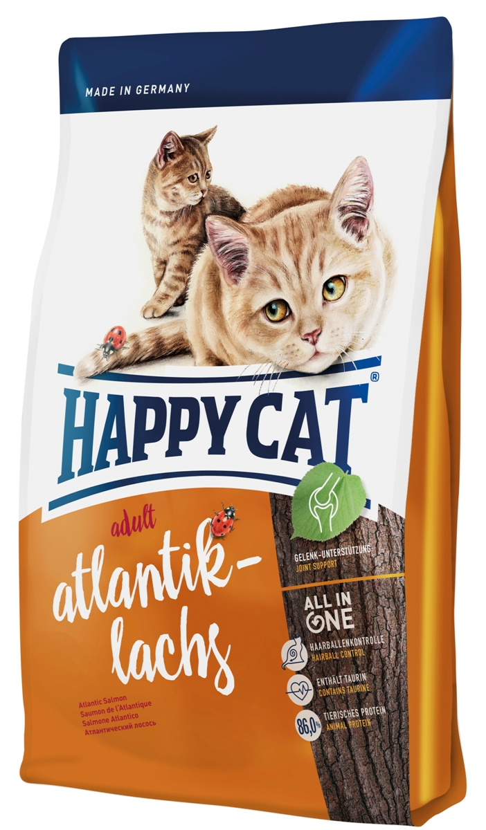 Корм сухой Happy Cat Adult для кошек с чувствительным пищеварением, атлантический лосось, 1,4 кг70194Сухой корм Happy Cat Adult обеспечивает маленького искателя приключении всеми важными питательными веществами, которые ему необходимы для уличных прогулок или для безудержной игры. Корм содержит легко усваиваемый лосось и птицу. Изысканная рецептура была специально разработана для кошек свободно гуляющих и активных кошек. Калорийность корма была адаптирована к физической активности.Состав: птица (18,5%), птичий жир, лосось (11%), рисовая мука, кукурузная мука, кукуруза, мясопродукты, картофельные хлопья, клетчатка, гемоглобин, свекольная пульпа, хлорид натрия, сухое цельное яйцо, дрожжи, хлорид калия, яблочная пульпа (0,4%), морские водоросли (0,2%), семя льна (0,2%), новозеландский моллюск (0,04%), корень цикория (0,04%), дрожжи (экстрагированные), расторопша, артишок, одуванчик, имбирь, березовый лист, крапива, ромашка, кориандр, розмарин, шалфей, корень солодки, тимьян (общий объем сухих трав: 0,18%).Аналитический состав: сырой протеин 32,0%, сырой жир 18,0%, сырая клетчатка 3,0 %, сырая зола 6,5%, кальций 1,3%, фосфор 0,9%, натрий 0,5%, калий 0,65%, магний 0,08%, Омега-6 жирных кислот 3,0%, Омега-3 жирных кислоты 0,4.%.Витамины/кг: витамин A (3а672а) 18000 МE, витамин D3 1800 МЕ, витамин E (альфа-токоферол 3a700) 100 мг, витамин B1 (тиаминмононитрат 3a821) 5 мг, витамин B2 (рибофлавин) 6 мг, витамин B6 (пиридоксингидрохлорид 3a831) 4 мг, D(+) биотин (3a880) 700 мкг, кальция-D-пантотенат 12 мг, ниацин 45 мг, витамин B12 75 мкг, холинхлорид 75 мг. Антиоксиданты: натуральные экстракты с высоким содержанием токоферола. Микроэлементы/кг: железо 120 мг (сульфат железа (II)), медь 12 мг (сульфат меди (II)), цинк 150 мг (оксид цинка) , марганец 30 мг (оксид марганца (II)), йод 2,5 мг (йодат кальция 3b202), селен 0,2 мг (селенит натрия). Аминокислоты/кг: DL-метионин: 4400 мг, таурин (3a370) 1000 мг.Товар сертифицирован.