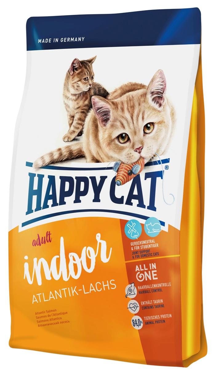 Корм сухой Happy Cat Adult Indoor для кошек с чувствительным пищеварением, атлантический лосось, 300 г пребиотический напиток viyo reinforces cat adult для взрослых кошек 7 х 30 мл