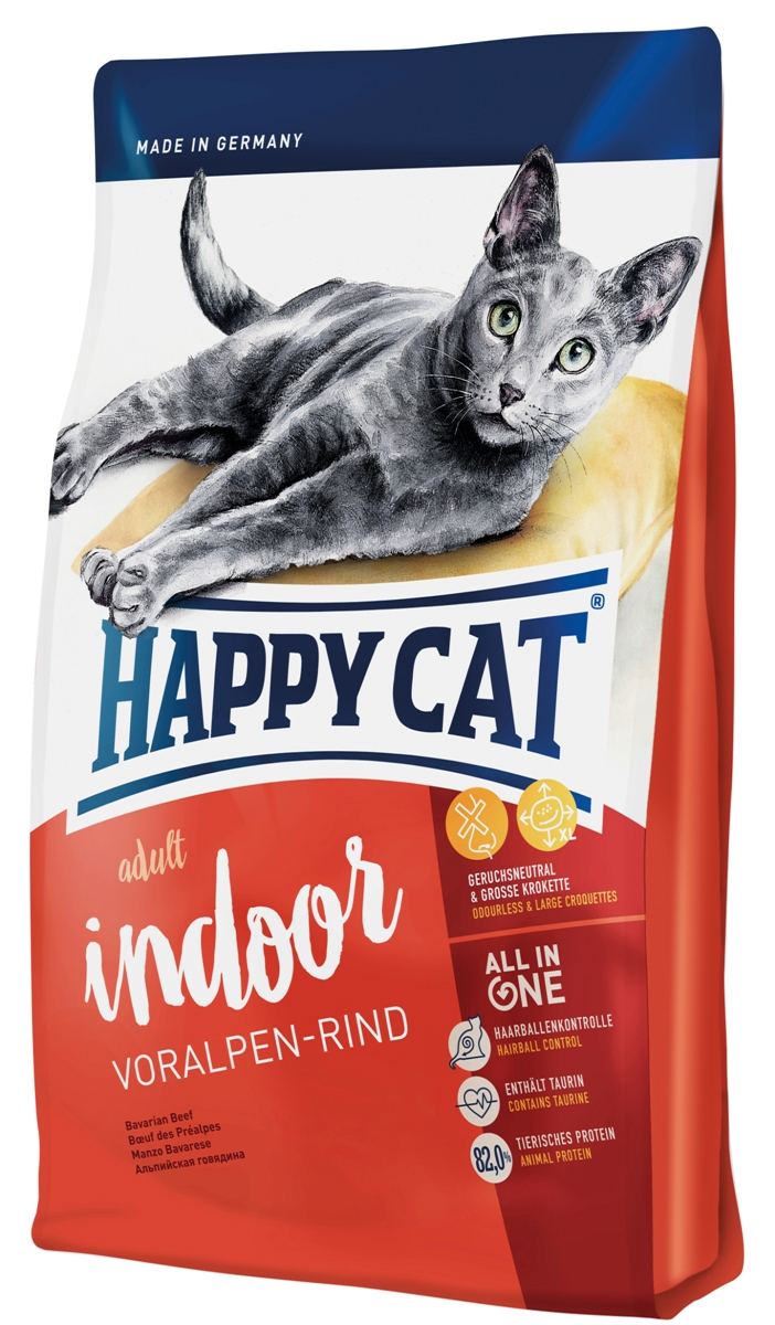 Корм сухой Happy Cat Adult Indoor для кошек с нормальной активностью, альпийская говядина, 4 кг70219Happy Cat Adult Indoor - сбалансированный корм, который содержит все необходимые вещества, но в тоже время должен предотвратить набор веса. Корм не содержит рыбы, но высококачественный протеин и калорийность соответствуют малоподвижному образу жизни. Немного увеличенные гранулы благотворно влияет на полость рта, так как кошка может полноценно пережевывать.Состав: мясопродукты (11,5% говядины), кукурузная мука, кукуруза, рисовая мука, птица (11%), картофельные хлопья, птичий жир, клетчатка, мясная мука (говядина 1%), гемоглобин, свекольная пульпа, сухое цельное яйцо, хлорид натрия, дрожжи, яблочная пульпа (0,4%), хлорид калия, морские водоросли (0,2%), семя льна (0,2%), Юкка Шидигера (0,04%), корень цикория (0,04%), дрожжи (экстрагированные), расторопша, артишок, одуванчик, имбирь, березовый лист, крапива, ромашка, кориандр, розмарин, шалфей, корень солодки, тимьян (общий объём сухих трав: 0,18%).Аналитический состав: сырой протеин 30%, сырой жир 12%, сырая клетчатка 3,0%, сырая зола 6,0%, кальций 1,05%, фосфор 0,7%, натрий 0,45%, калий 0,65%, магний 0,07%, Омега - 6 жирные кислоты 2,2 %, Омега - 3 жирные кислоты 0,25%.Витамины/кг: Витамин A (3а672а) 18000 МE, витамин D3 1800 МЕ, витамин E (альфа-токоферол 3a700) 100 мг, витамин B1 (тиаминмононитрат 3a821) 5 мг, витамин B2 (рибофлавин) 6 мг, витамин B6 (пиридоксингидрохлорид 3a831) 4 мг, D(+) биотин (3a880) 700 мкг, кальция-D-пантотенат 12 мг, ниацин 45 мг, витамин B12 75 мкг, холинхлорид 75 мг. Антиоксиданты: натуральные экстракты с высоким содержанием токоферола. Микроэлементы/кг: железо 120 мг (сульфат железа (II)), медь 12 мг (сульфат меди (II)), цинк 150 мг (оксид цинка), марганец 30 мг (оксид марганца (II)), йод 2,5 мг (йодат кальция 3b202), селен 0,2 мг (селенит натрия). Аминокислоты/кг: DL-метионин: 4600 мг, таурин (3a370) 1000 мг.Товар сертифицирован.