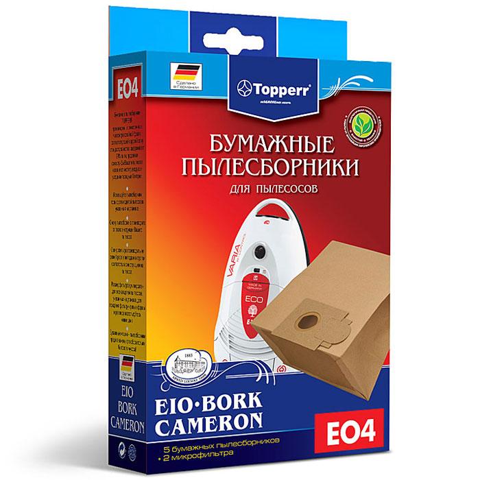 Topperr EO 4 фильтр для пылесосовBork, CameronиEIO, 5 шт1013Бумажные пылесборники Topperr EO 4 для пылесосов Bork, Cameron и EIO изготовлены из экологически чистой трехслойной бумаги, соответствующей европейскому стандарту качества, задерживают 99% пыли, продлевая срок службы пылесоса, сохраняют чистоту воздуха и устраняют вредные бактерии.Модели и серии пылесосов:Bork: V5012, V5011, V502, V501, V500,VC-3318, VC-3320, VC-3322, VC-3342, VC-3345, VC-9119Cameron: СVС-1050 EIO: (Morphy Richards) BS83, 84; Villa: 2200 premium, beech, steel, wave; Vivo: 1600, 2000, 2000 airbox, 2200 airbox; Compact: 1200, 1300, 1400, BS 48/1, eco2, home eco2; Domatic: 1200, 1300, 1400, BS48/1, BS49/1, harlekin, pianissimo, valente; Varia: 2000, 1600 ECO, 2200 DUO, eco 2 pro nature, eco 2 energie, pianissimo, proedition 1500 r-control, supreme, valente; Exclusiv: 1200, 1300, 1400,1500,1600, BS86/1, BS87/1, BS88/1; Futura: 1200, 1300,1400,1800, BS80/1, BS81/1, BS82/1; Handy: 1200, 1300,1400, deluxe, supreme, valente; Topo: 1700, 1800, 2200,1800 airbox, 2200 airbox, 2300 airbox, 1600 newstyle, 1800 newstyle, 2200 newstyle, 2400 newstyle; Vinto: 1350, 1450, 1500, 1550, 1700, allergie plus, edition plus; Vision: BS83, BS83/1, BS84/1; Oko-lux: BS 47/1; Zento; Storm; Targa: 2000, 2000 DUO, 2000 electro.