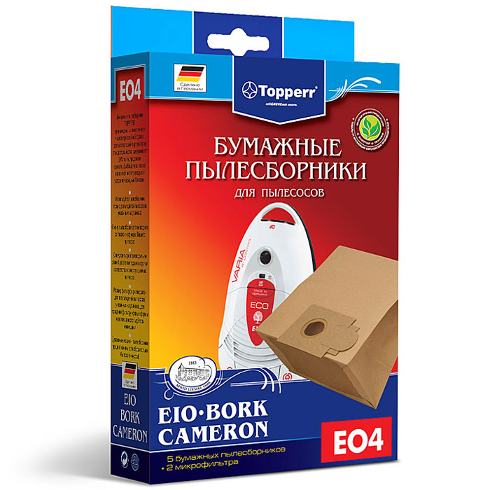 Topperr EO 4 фильтр для пылесосовBork, CameronиEIO, 5 шт topperr fu 1