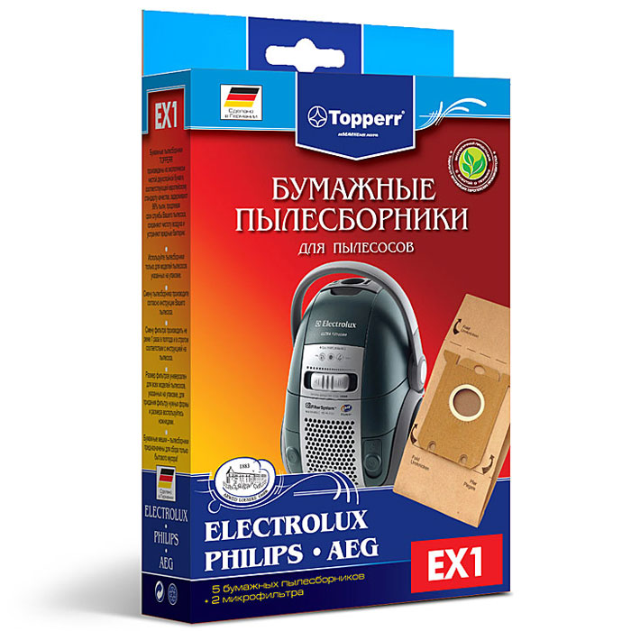 Topperr EX 1 фильтр для пылесосовAEG, Bork, Electrolux, Philips, Zanussi, 5 шт1010Бумажные пылесборники Topperr EX 1 для пылесосов AEG, Bork, Electrolux, Philips, Zanussi изготовлены из экологически чистой двухслойной бумаги, соответствующей европейскому стандарту качества, задерживают 99% пыли, продлевая срок службы пылесоса, сохраняют чистоту воздуха и устраняют вредные бактерии.Модели и серии пылесосов:AEG: Clario AEC7570-AEC7572; Maximus AM, MX; Oxy3 System AOS9300-AOS9352; Oxygen+ AE7300-AE7399; QS Elegance AVQ; System Pro P1-P999; Ultra Silencer AUS4030-AUS4040; Viva Control AVC1100-AVC1230; Viva QuickStop AVQ2100-AVQ2190Bork: VC SHB 9016, 9118, 9818, 9919Electrolux: Maximus ZXM 70; Classic Silence ZCS 21; JetMaxx ZJM 68; Essensio ZEO 54; UltraOne Z 88, Z90; Oxygen+ Z 73; Oxygen Z 5; UltraSilencer ZUSG 39, ZUS 39, ZUS 33, Z 33; Ergobox Twintech XXLTT; Clario Z 19, Z 20, Z 75; Clario2 ZP 35; ErgoSpace ZE 22, ZE 3; XXL; Airmax ZAM 61, ZAM 62; CE ZCE 1800, ZCE 2200; Excellio Z 5; Smartvac Z 5; VivaControl ZV 10; VivaQuickStop ZVQ 21; Oxi3 System ZO 63; Bolido Z 15, Z 45Philips: EasyLife FC 8130-8139; SilentStar FC 9302-9306; FC 9310-93-19; HomeHero FC 8910-8920; SmallStar FC 8230-8236; Performer FC 9150-9179; Specialist FC 9101-9130; Studio FC 9080-9086; Jewel FC 9050-9078; Universe FC 9002-9049; Gladiator FC 8440-8445; City Line FC 8432-8439, HR 8368-8378; Expression FC 8600-8649, HR 8300-8349; Impact FC 8380-8388, HR 8350-8367; Mobilo HR 85Zanussi: ZAN 3600/3630; ZAN 4610, ZAN 4640