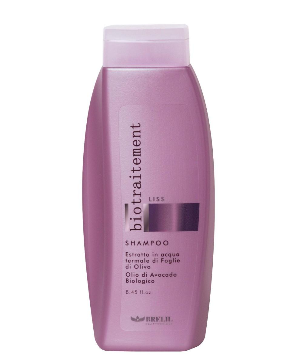 Brelil Разглаживающий шампунь Bio Traitement Liss Shampoo, 250 млB064035Особый состав шампуня Brelil Bio Traitement Liss Shampoo придает волосам мягкость и шелковистость и активно восстанавливает структуру. В формулу продукта входит экстракт листьев оливы и масло авокадо — мощные природные увлажнители, помогающие вернуть волосам необходимую мягкость, гладкость, послушность, делающие волокно волос шелковистым и блестящим и поддерживающие достигнутый эффект при регулярном применении.