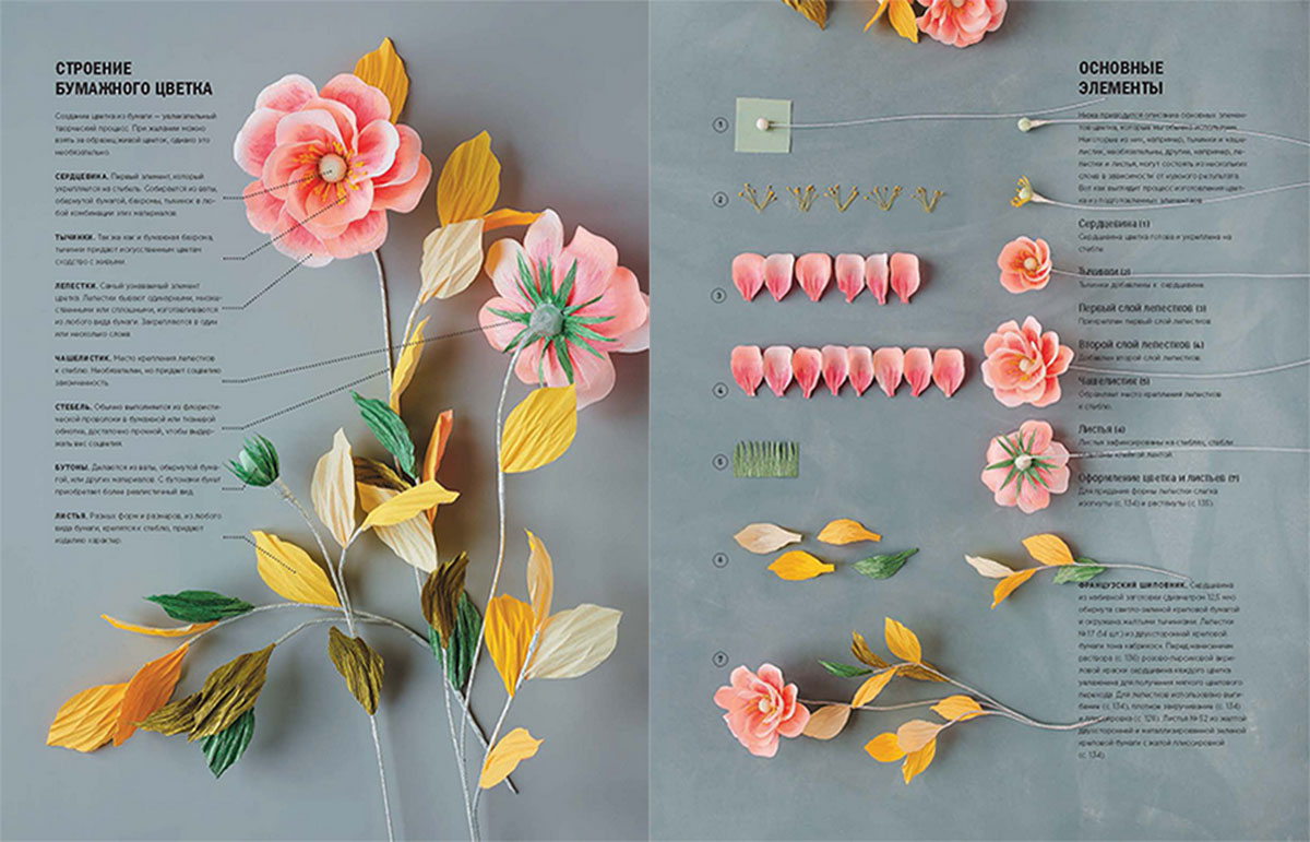 Цветы из гофрированной бумаги для открытки или плаката