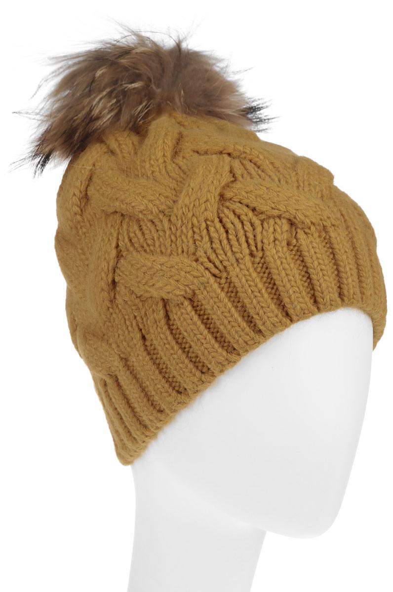 Шапка женская Baon, цвет: горчичный. B346527. Размер универсальныйB346527Вязаная женская шапка Baon отлично подойдет для модниц в холодное время года. Она мягкая и приятная на ощупь, обладает хорошими дышащими свойствами и максимально удерживает тепло.Красивый съемный помпон из натурального меха отлично дополняет головной убор. Изделие оформлено крупным вязаным узором, а также дополнено небольшой металлической пластиной с названием бренда.Такой стильный и теплый аксессуар подчеркнет ваш образ и индивидуальность.