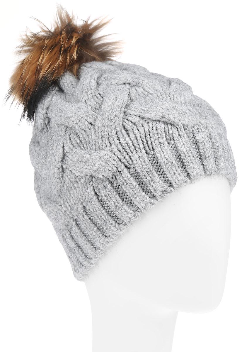 Шапка женская Baon, цвет:светло-серый. B346527 . Размер универсальныйB346527Вязаная женская шапка Baon отлично подойдет для модниц в холодное время года. Она мягкая и приятная на ощупь, обладает хорошими дышащими свойствами и максимально удерживает тепло.Красивый съемный помпон из натурального меха отлично дополняет головной убор. Изделие оформлено крупным вязаным узором, а также дополнено небольшой металлической пластиной с названием бренда.Такой стильный и теплый аксессуар подчеркнет ваш образ и индивидуальность.