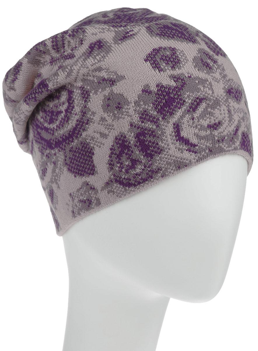 Шапка женская Baon, цвет: бежевый, фиолетовый. B346508. Размер универсальныйB346508Оригинальная женская шапка Baon дополнит ваш наряд и не позволит вам замерзнуть в прохладное время года. Шапка выполнена из высококачественного акрила, что позволяет ей великолепно сохранять тепло и обеспечивает высокую эластичность и удобство посадки. Шапка оформлена контрастным цветочным узором.Такая шапка станет модным и стильным дополнением вашего зимнего гардероба, великолепно подойдет для активного отдыха и занятия спортом. Она согреет вас и позволит подчеркнуть свою индивидуальность.