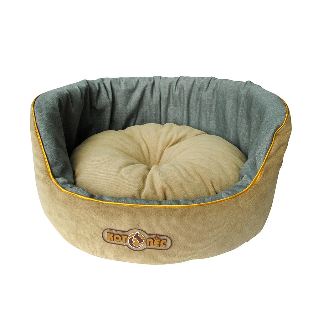 """Лежак для животных Котопес """"Велюр-Джинса"""", цвет: бежевый, серо-синий, 40 х 40 х 20 см"""