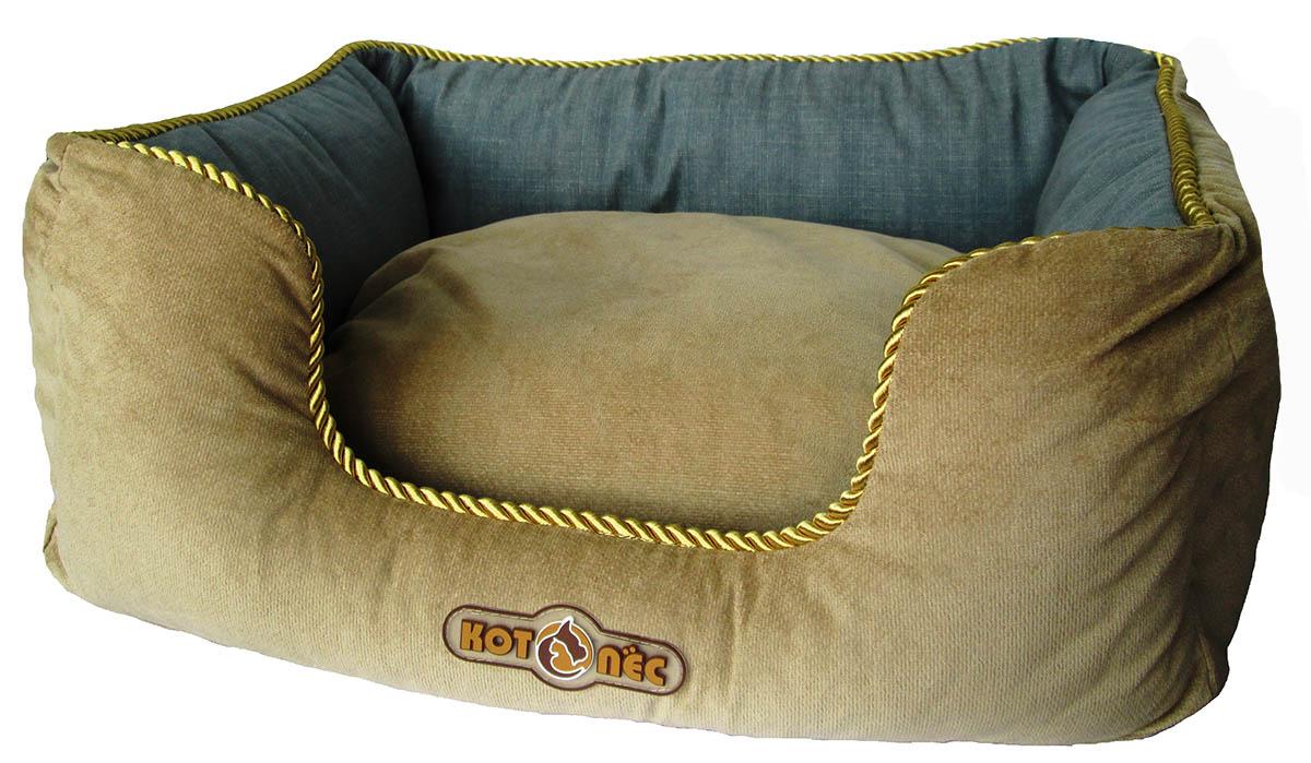 Лежак для животных Котопес Велюр-Джинса, цвет: бежевый, серо-синий, 60 х 51 х 24 см лежак для кошек и собак гамма 58 х 38 х 22 см