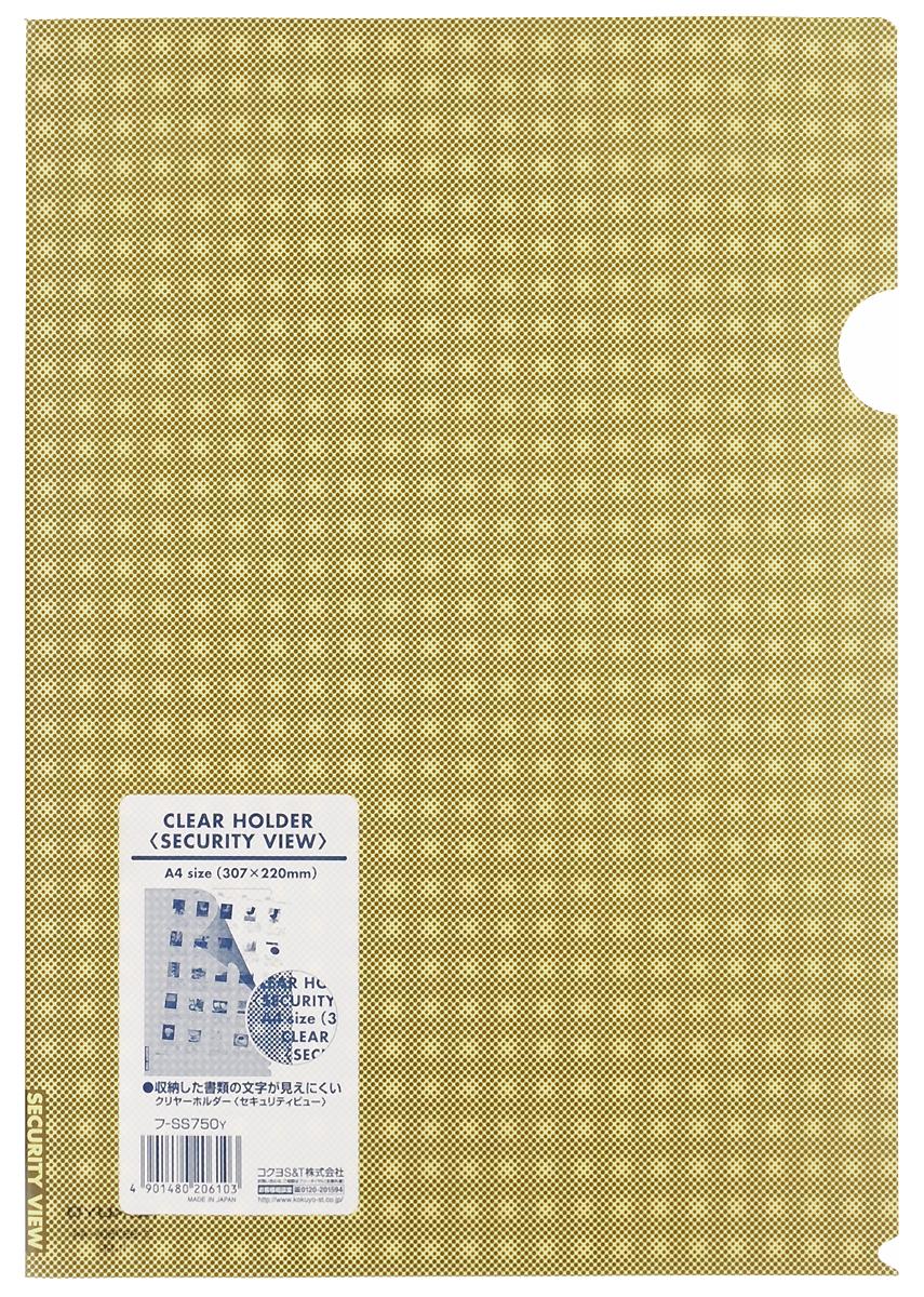 Kokuyo Папка-уголок Security цвет желтый828450Папка-уголок Kokuyo Security подойдет для хранения документов и тетрадей как для офисного работника, так и для студента или школьника. По форме это обычная папка-уголок формата А4, но ее обложка декорирована специальным рисунком в клетку, который не позволит прочитать документы, которые хранятся в этой папке.Изготовлена папка из качественного пластика, и ее всегда можно будет носить с собой на выездные встречи или просто в портфеле в школу.