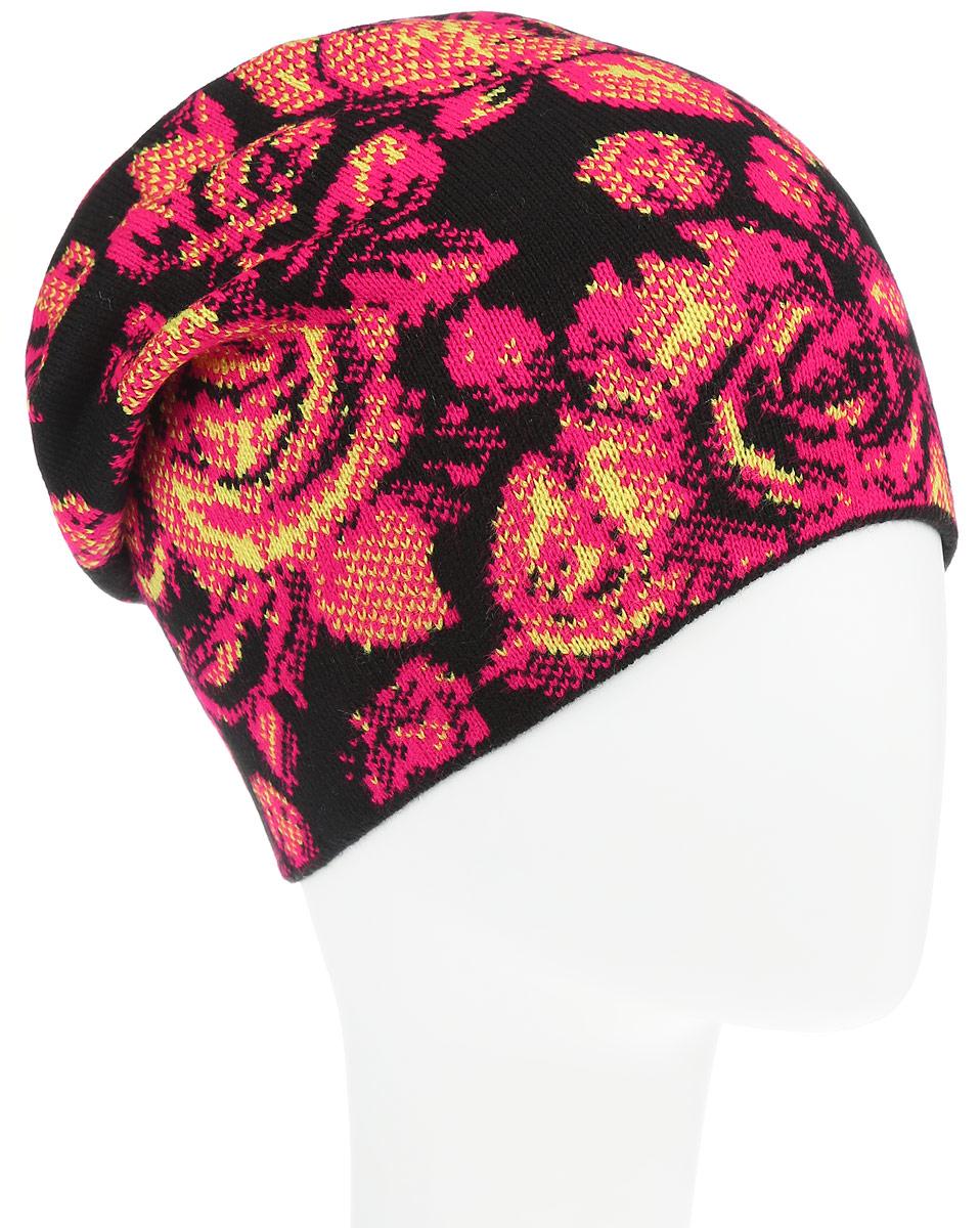Шапка женская Baon, цвет: черный, розовый, желтый. B346508. Размер универсальныйB346508Оригинальная женская шапка Baon дополнит ваш наряд и не позволит вам замерзнуть в прохладное время года. Шапка выполнена из высококачественного акрила, что позволяет ей великолепно сохранять тепло и обеспечивает высокую эластичность и удобство посадки. Шапка оформлена контрастным цветочным узором.Такая шапка станет модным и стильным дополнением вашего зимнего гардероба, великолепно подойдет для активного отдыха и занятия спортом. Она согреет вас и позволит подчеркнуть свою индивидуальность.