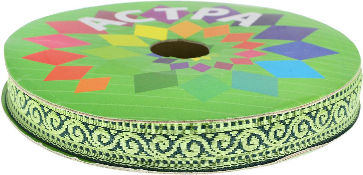 Тесьма декоративная Астра, цвет: зеленый, ширина 1,8 см, длина 16,4 м. 7703260_3 тесьма декоративная астра цвет болотный зеленый с19 ширина 2 5 см длина 9 м 7703433
